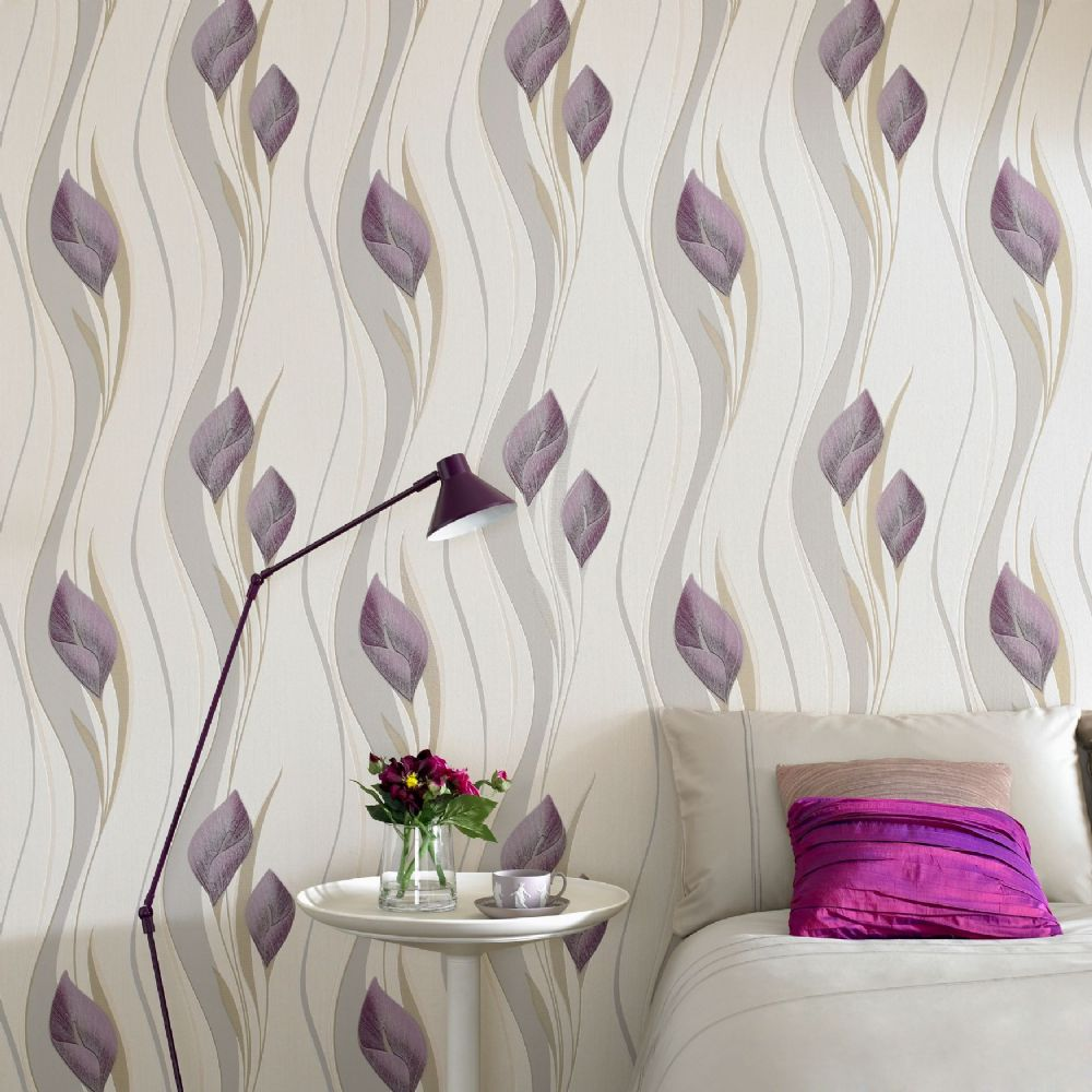 Graham and Brown Peace Plum & Cream 30-309 Wallpaper